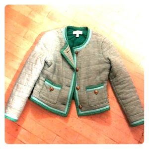 """J. Crew """"Chanel"""" style quilted jacket green/blue"""